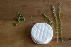 Cheese and herbs. Brazilian ingredients in wood table Stock Photo