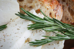 Cheese, herbs and bread Stock Photography
