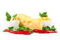 Cheese, herbs and chilli pepper Royalty Free Stock Images