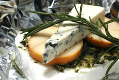 Cheese with herbs. Food, macro Royalty Free Stock Photo