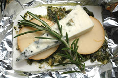 Cheese with herbs. Food, macro Royalty Free Stock Image