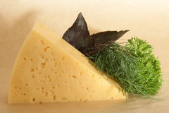 Cheese and herbs on pack paper. Cheese, dill, parsley, basil on beige pack paper. Ingredients for cooking stock photos
