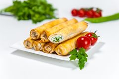 Cheese and Herbs roll backery royalty free stock photography