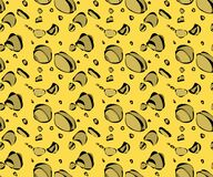Vector seamless pattern with cheese holes in a primitive manner vector illustration