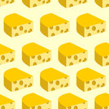 Cheese with holes seamless pattern. Background of pieces of yell Royalty Free Stock Images
