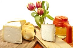 Cheese and honey Stock Photography