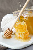 Cheese and honey. Stock Photography