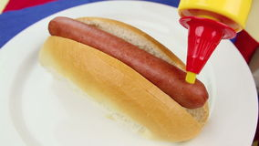 Cheese on Hot Dog stock footage