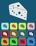 Cheese Icon with color variations, vector. Flat Stock Photography
