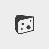 Cheese icon in a flat design in black color. Vector illustration eps10 Royalty Free Stock Image