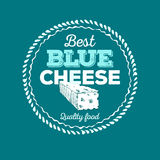 Cheese icon hand drawn. Round cheese wheel sign. Sliced food with typographic.  Stock Image