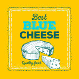 Cheese icon hand drawn. Round cheese wheel sign. Sliced food with typographic Royalty Free Stock Photography