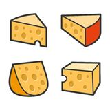 Cheese Icon Set on White Background. Vector royalty free illustration