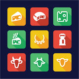 Cheese Icons Flat Design Royalty Free Stock Photos