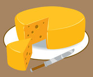 Cheese. An Illustration of a round block of cheese Royalty Free Stock Photo