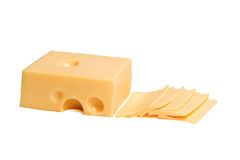 Cheese isolated on white background. Yellow cheese on white background Royalty Free Stock Photos