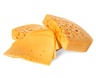 Cheese isolated on a white Royalty Free Stock Photos