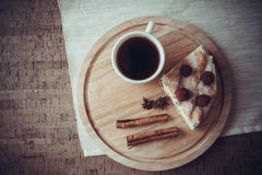 Cheese kisch and coffee beans Royalty Free Stock Photography