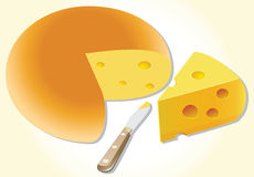 Cheese and knife Royalty Free Stock Photography