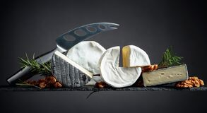 Cheese Knife And Various Soft Cheeses Royalty Free Stock Image