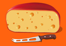 Cheese with Knife for cheese, vector. Illustration Royalty Free Stock Images