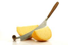 Cheese knife with Dutch Edam cheese Stock Images