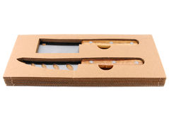 Cheese knife set isolated. Cheese knife set in box isolated on white stock photography