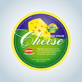 Cheese label template design. Green and violet round cheese label . Vector illustration. Stock Photos