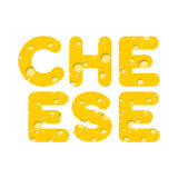 Cheese. Letters of yellow cheese texture. Vector illustration Royalty Free Stock Images