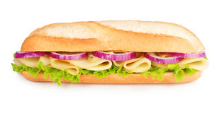 Cheese, lettuce and red onion sandwich Stock Photo