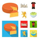 Cheese, lion and other symbols of the country.Belgium set collection icons in cartoon,flat style vector symbol stock. Illustration stock illustration