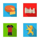 Cheese, lion and other symbols of the country.Belgium set collection icons in flat style vector symbol stock Stock Photo