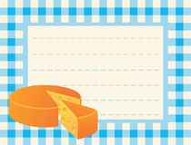 Cheese loaf on chequered background. Vector card with sliced round cheese loaf on the chequered table-cloth background Stock Images