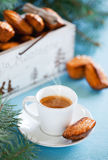 Cheese madeleines and cup of coffee Royalty Free Stock Image