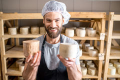Cheese maker at the cellar Royalty Free Stock Photo