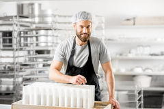 Cheese maker at the manufacturing Stock Image