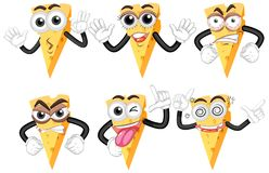 Cheese with many facial expressions stock illustration