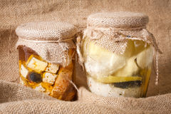 Cheese in marinade Stock Image