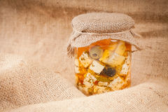 Cheese in marinade. Hand made Royalty Free Stock Photo