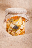 Cheese in marinade. Hand made Stock Images