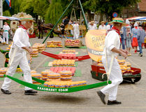 Cheese market carriers Edam, Holland stock image