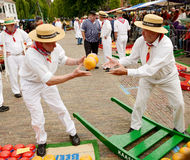 Cheese market workers Edam, Holland stock photo