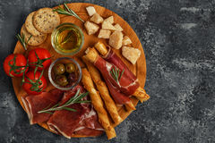 Cheese and meat appetizer selection, top view. Stock Photo