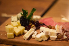 Cheese and meat plate for meat Stock Photography