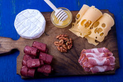 Cheese and meat plate with walnuts on blue wooden background. Top view. Stock Photo