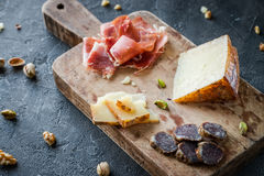 Cheese and meat platter. Spanish ham jamon serrano or Italian prosciutto crudo, sliced Italian hard cheese pecorino toscano Royalty Free Stock Photos