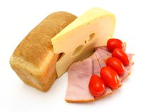 Cheese with a meat and tomatoes Royalty Free Stock Image