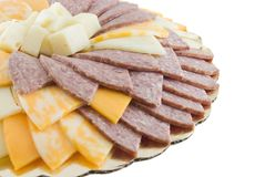 Cheese and Meat Tray. Isolated on white Royalty Free Stock Image