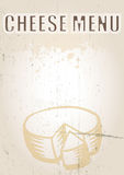Cheese Menu. A portrait format image of a menu cover or menu board with text spelling spelling cheese menu Set on a grunge styled background. Ideal use for a Stock Photography