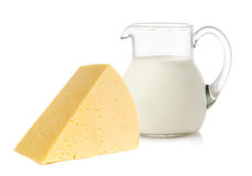 Cheese and milk Stock Photos